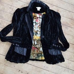 Alberto Makali black crinkled velvet blazer